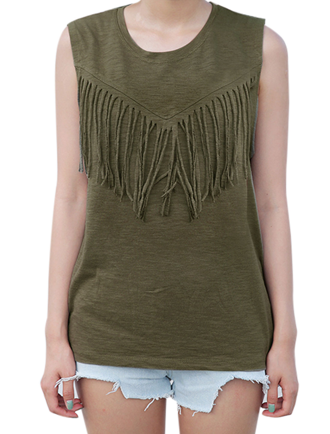 Woman Fringed Upper Round Neck Sleeveless Casual Tank Top Army Green XS