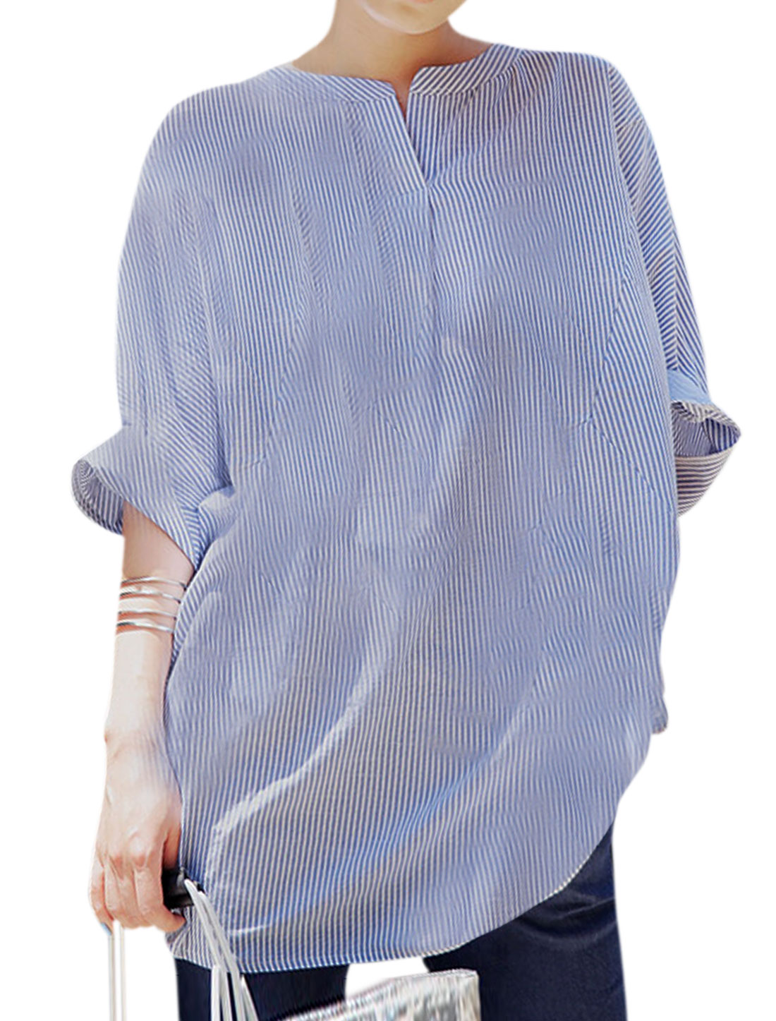 Women Batwing Sleeve Stripes Casual Blouses Blue XS
