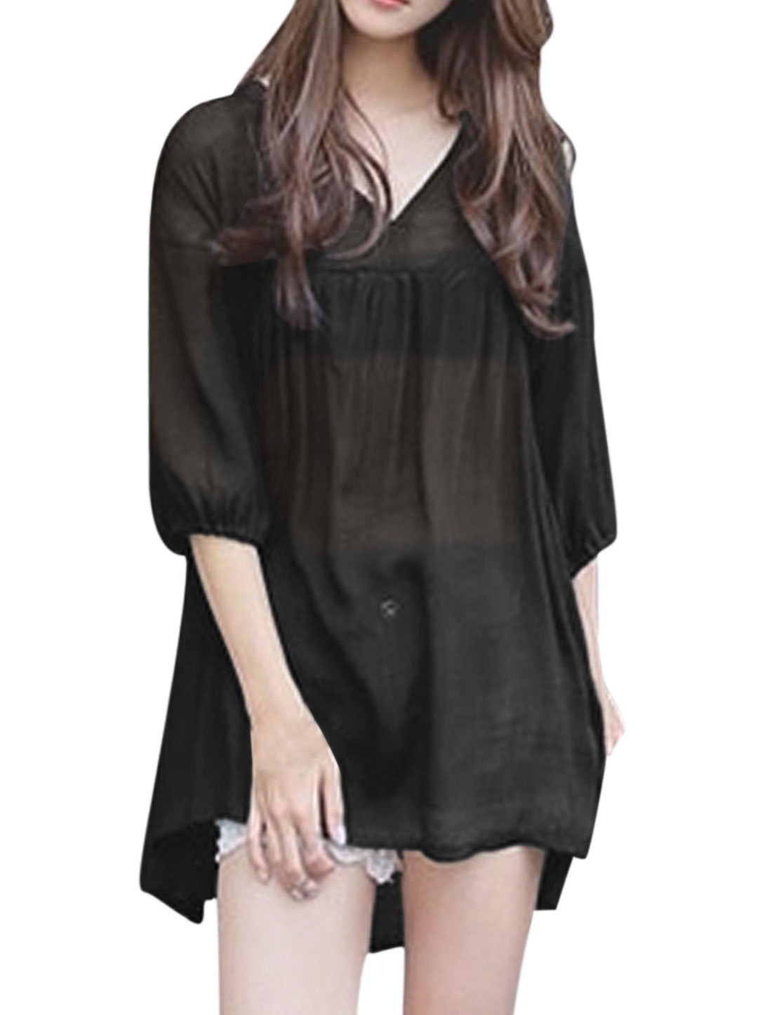 Woman V Neck 3/4 Sleeves High Low Hem Loose Fit Longline Top Black XS