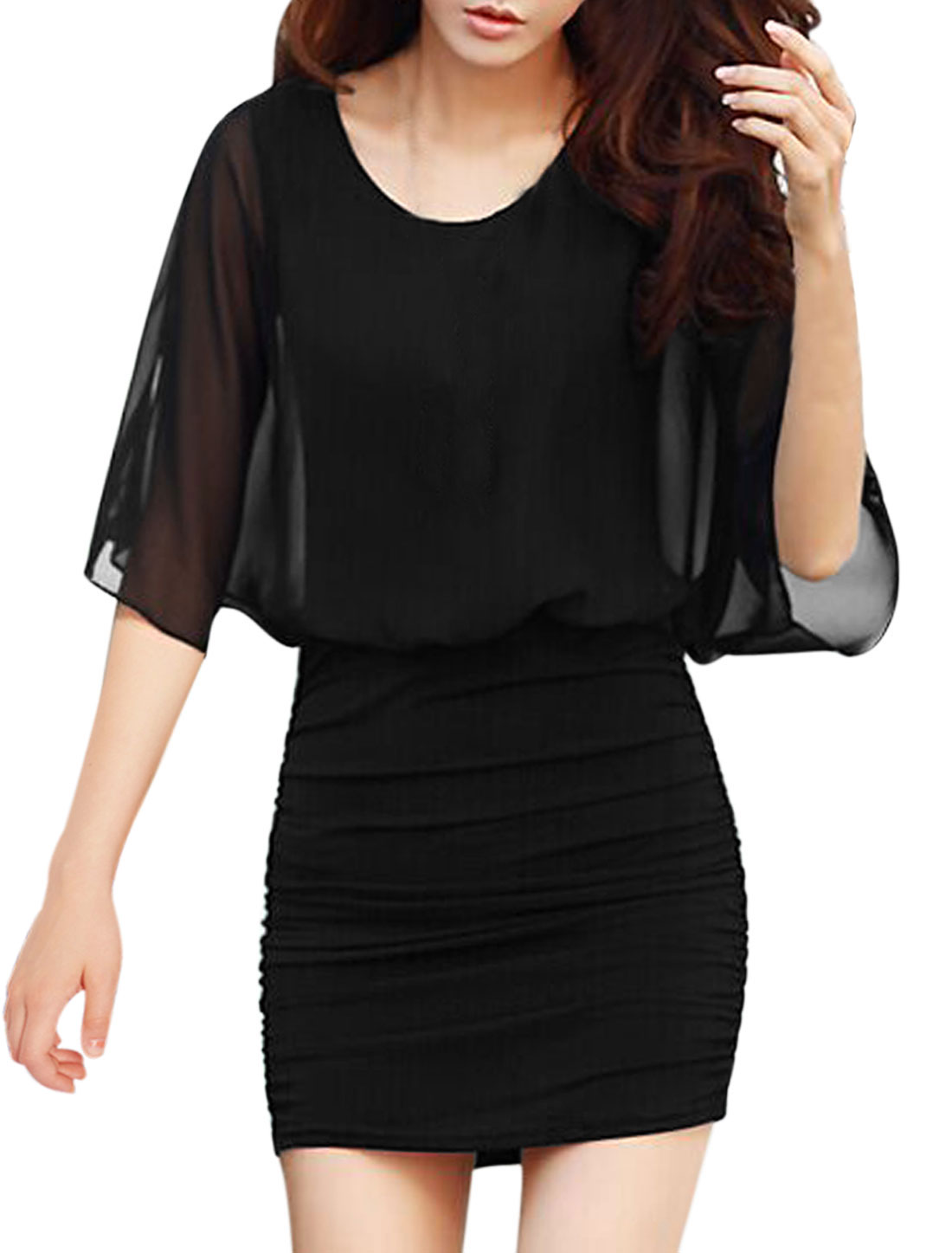 Woman Cold Shoulder Half Dolman Sleeves Chiffon Panel Blouson Dress Black M