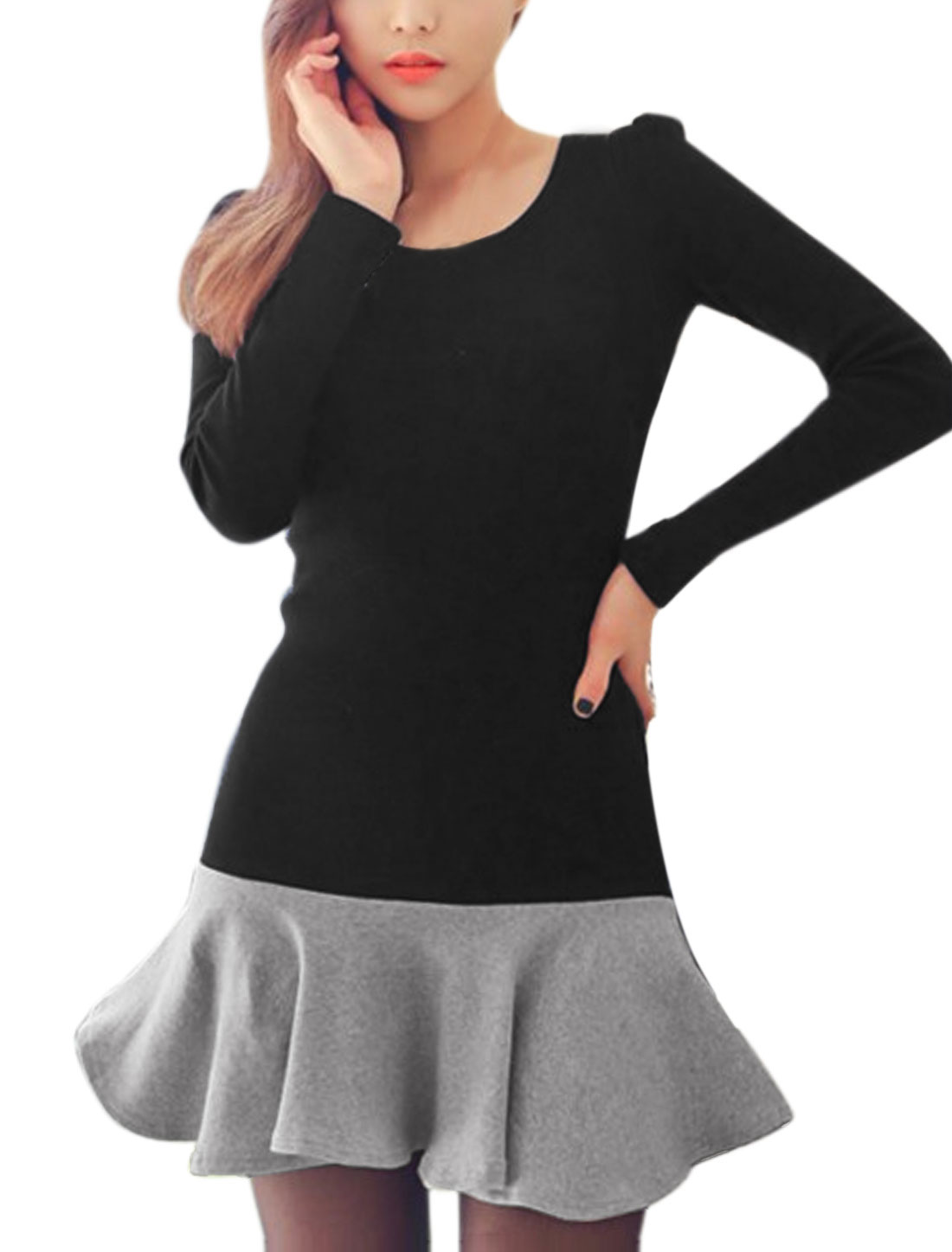 Women Contrast Color Panel Design Flonced Tunic Dress Black M