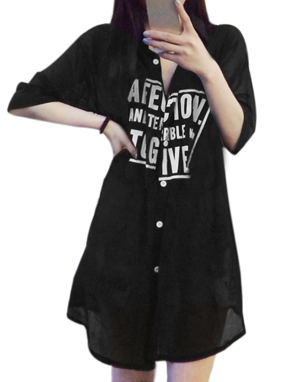 Women 3/4 Sleeve Button Down Letters Print Casual Tunic Shirts Black XS