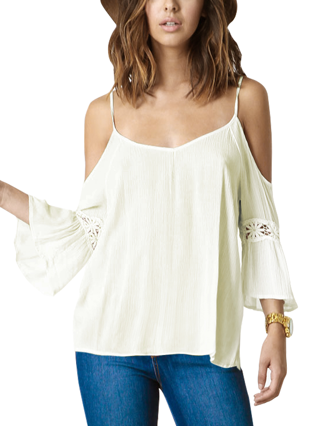 Women Scoop Neck Cut Out Bell Sleeves Open Back Blouse White XS