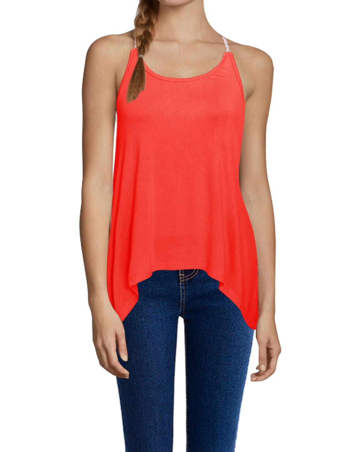 Women Scoop Neck Spaghetti Strap Sleeveless Casual Top Watermelon Red M