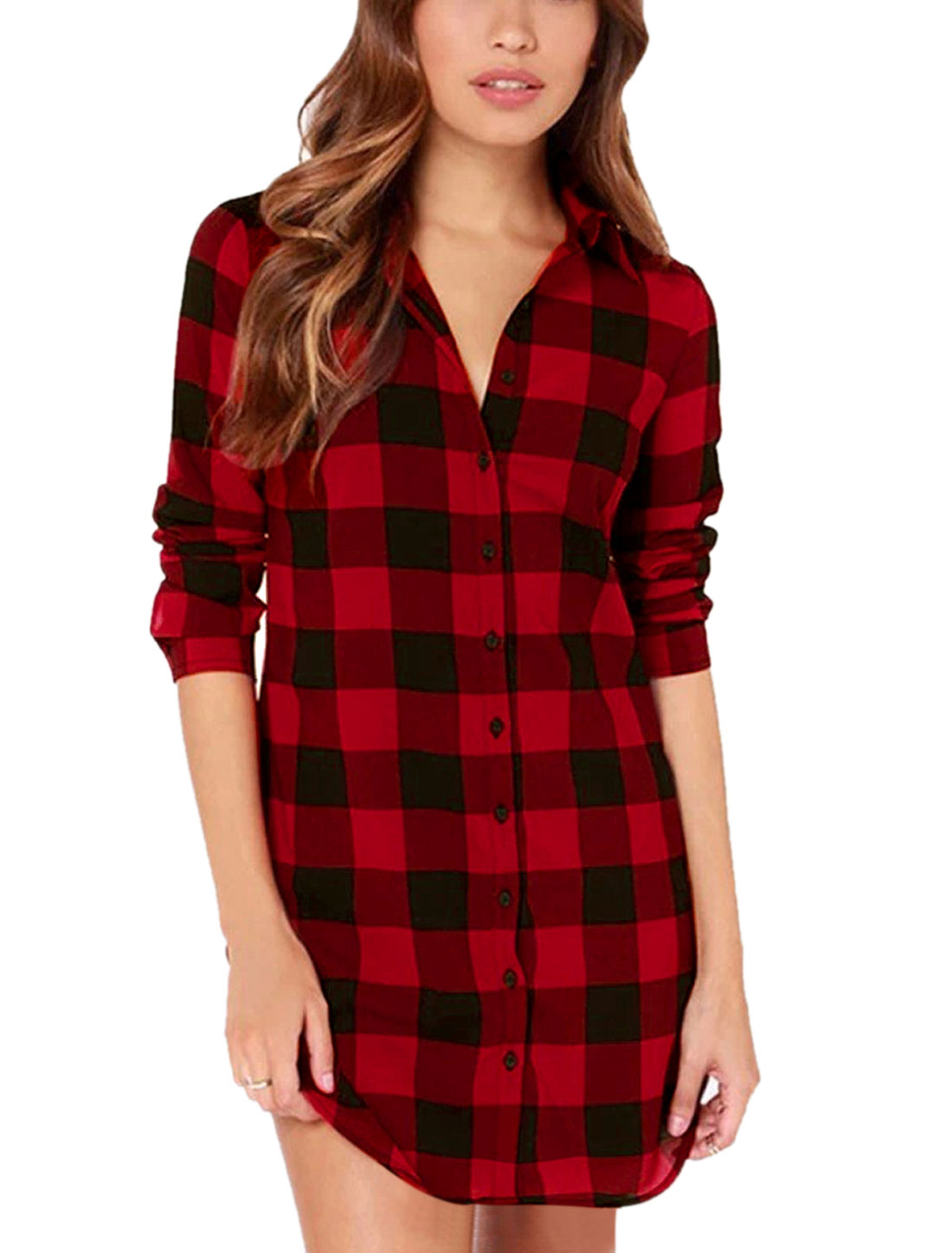 Women Point Collar Single Breasted Round Hem Tunic Shirt Red S