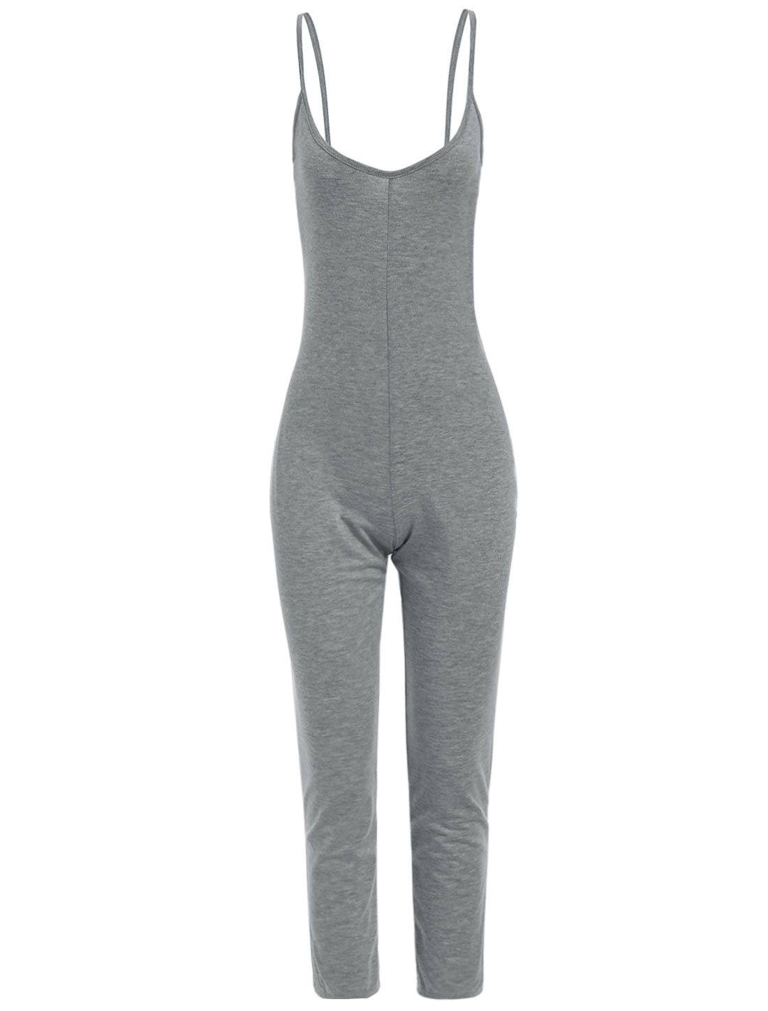 Ladies Spaghetti Strap Scoop Neck Backless Casual Jumpsuit Gray L