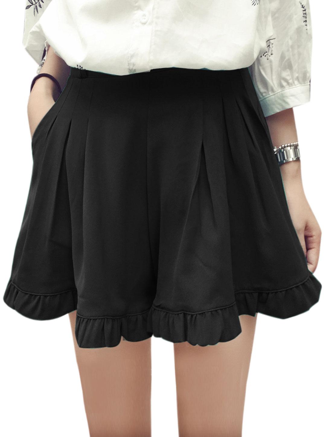 Women Mid Rise Belt Loop Front Pockets Hidden Zipper Side Casual Shorts Black S