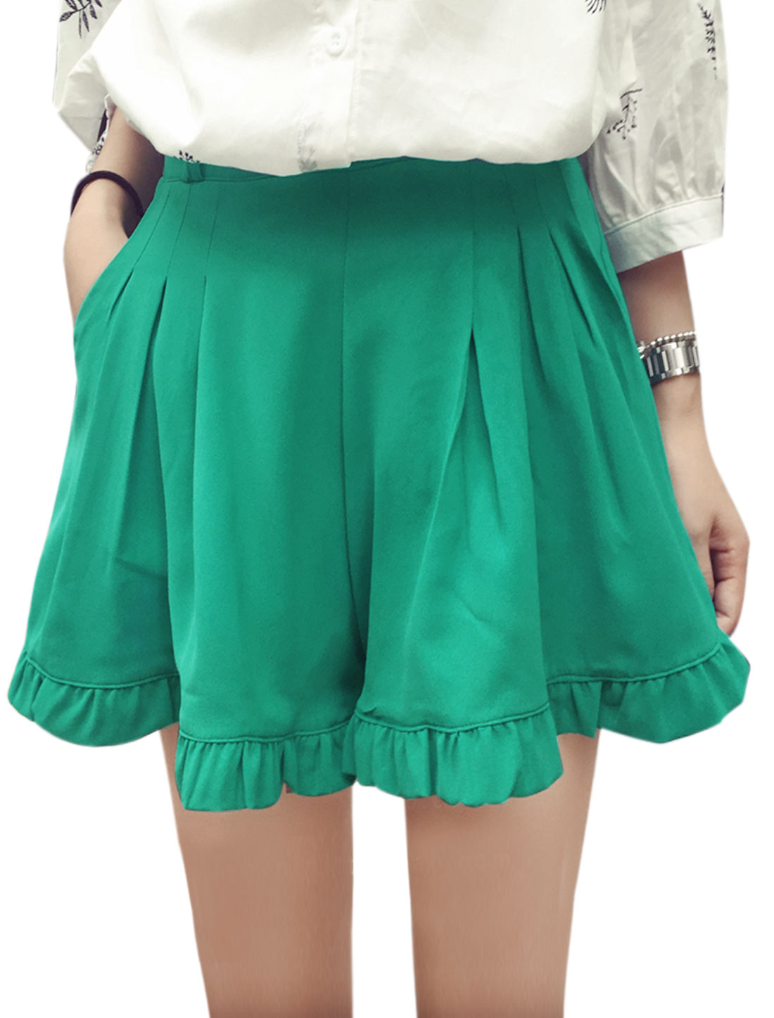Women Mid Rise Belt Loop Front Pockets Leisure Short Shorts Turquoise S