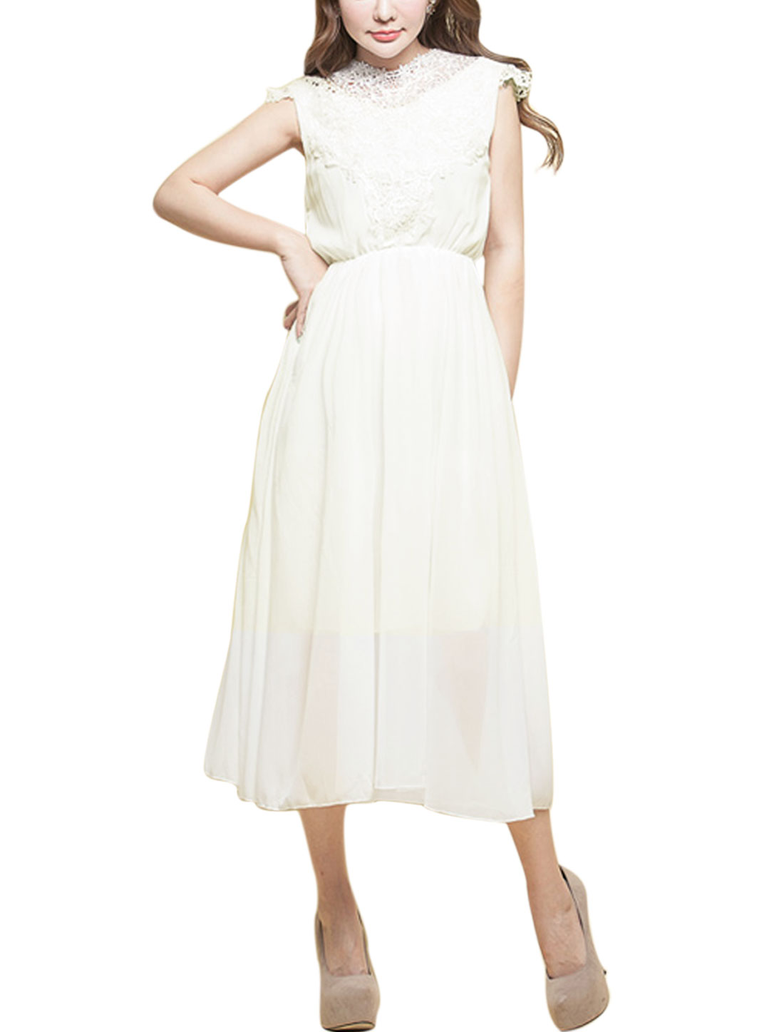 Woman Lace Panel Crew Neck Cap Sleeves Elastic Waist Chiffon Dress White M