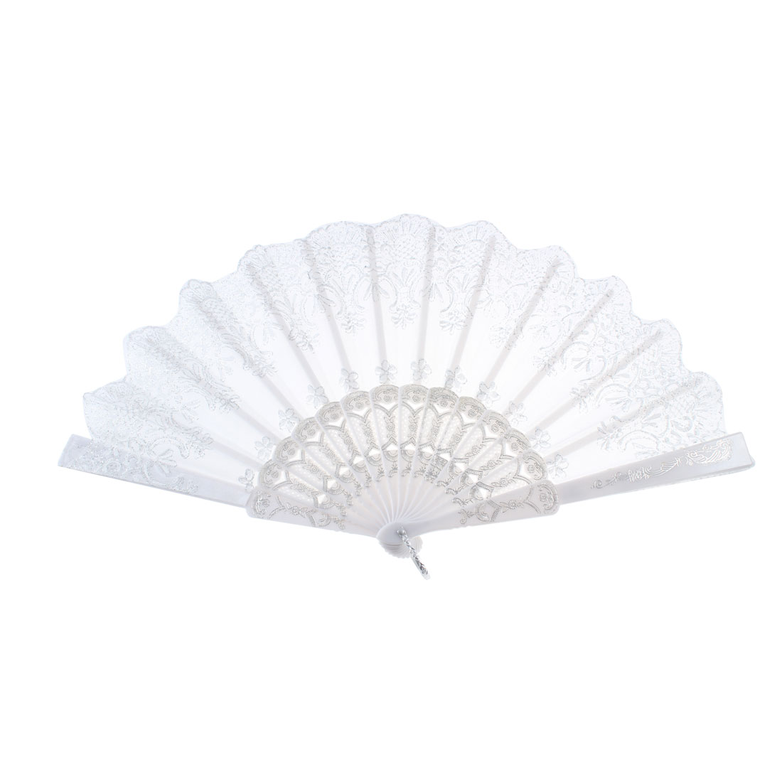 Flower Print Glittery Powder Decor Foldable Handheld Fan White for Women