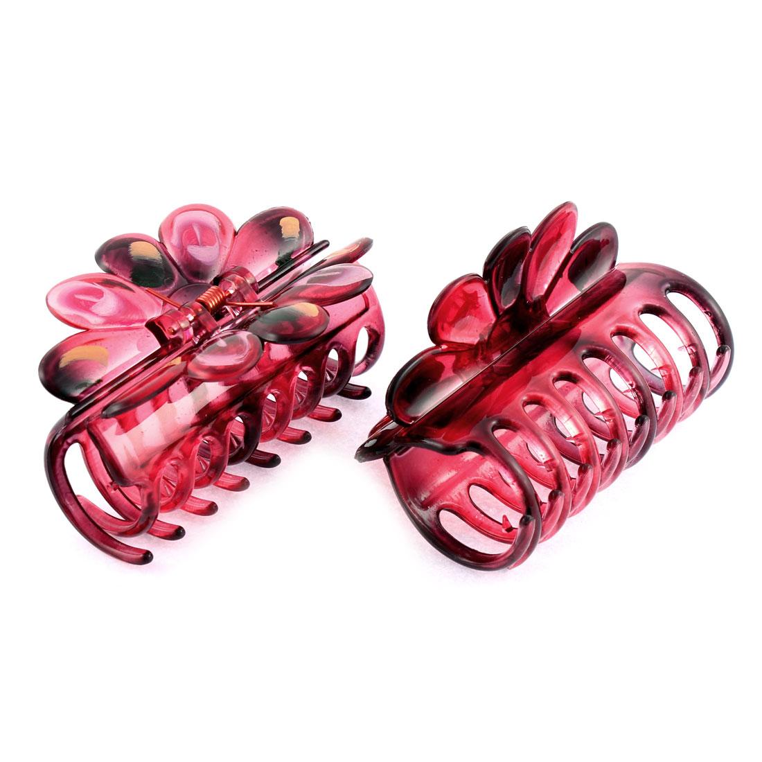 2 Pcs Plastic Spring Loaded Hair Claw Clip Barrette Decoration Burgundy