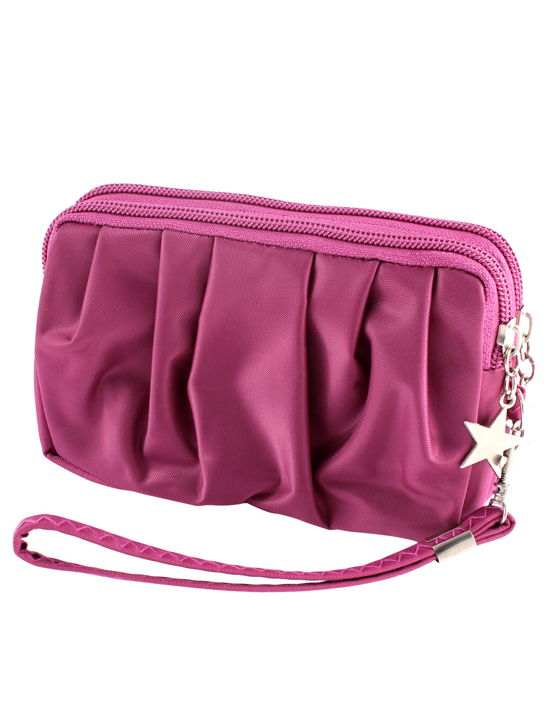 Woman Zipper Closure Wristlet Cash Purse Coin Cards Bag Handbag Wallet Fuchsia