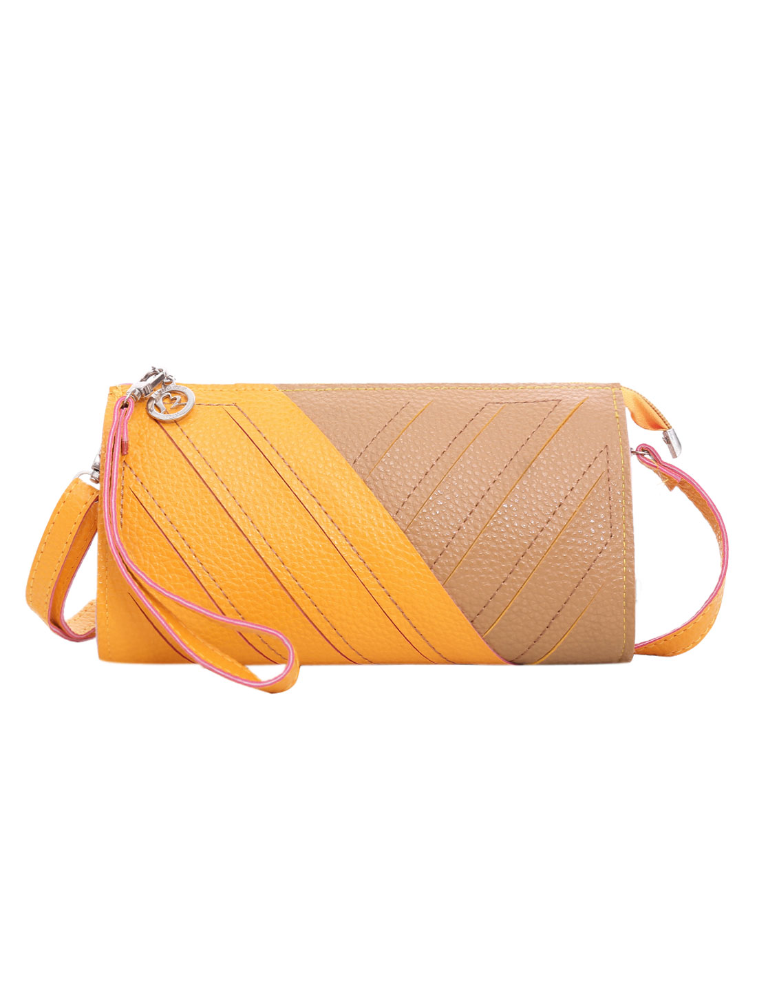 Ladies Color Block Cut Out Style Interior Pockets Zipper Closure Wallet Yellow