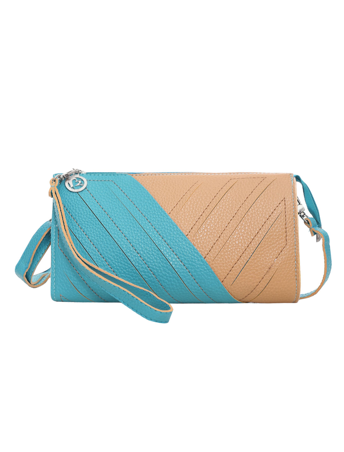Women Color Blocking Interior Pockets Zipper Closure Casual Wallets Turquoise