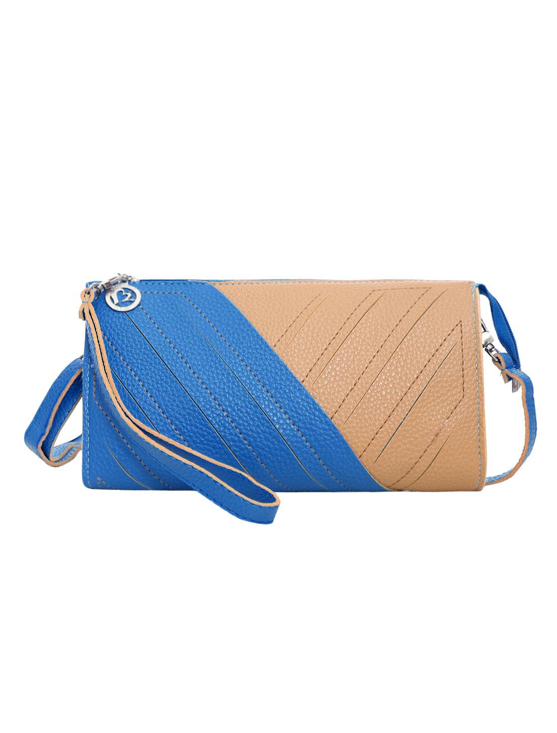 Women Color Blocking nterior Pockets Zip Closed Wallet Purse Blue