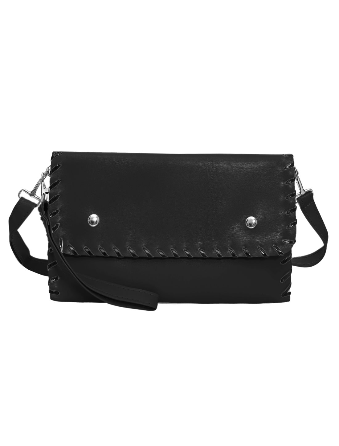 Woman Contrast-Colored Stitching Envelope Detachable Straps Clutches Black