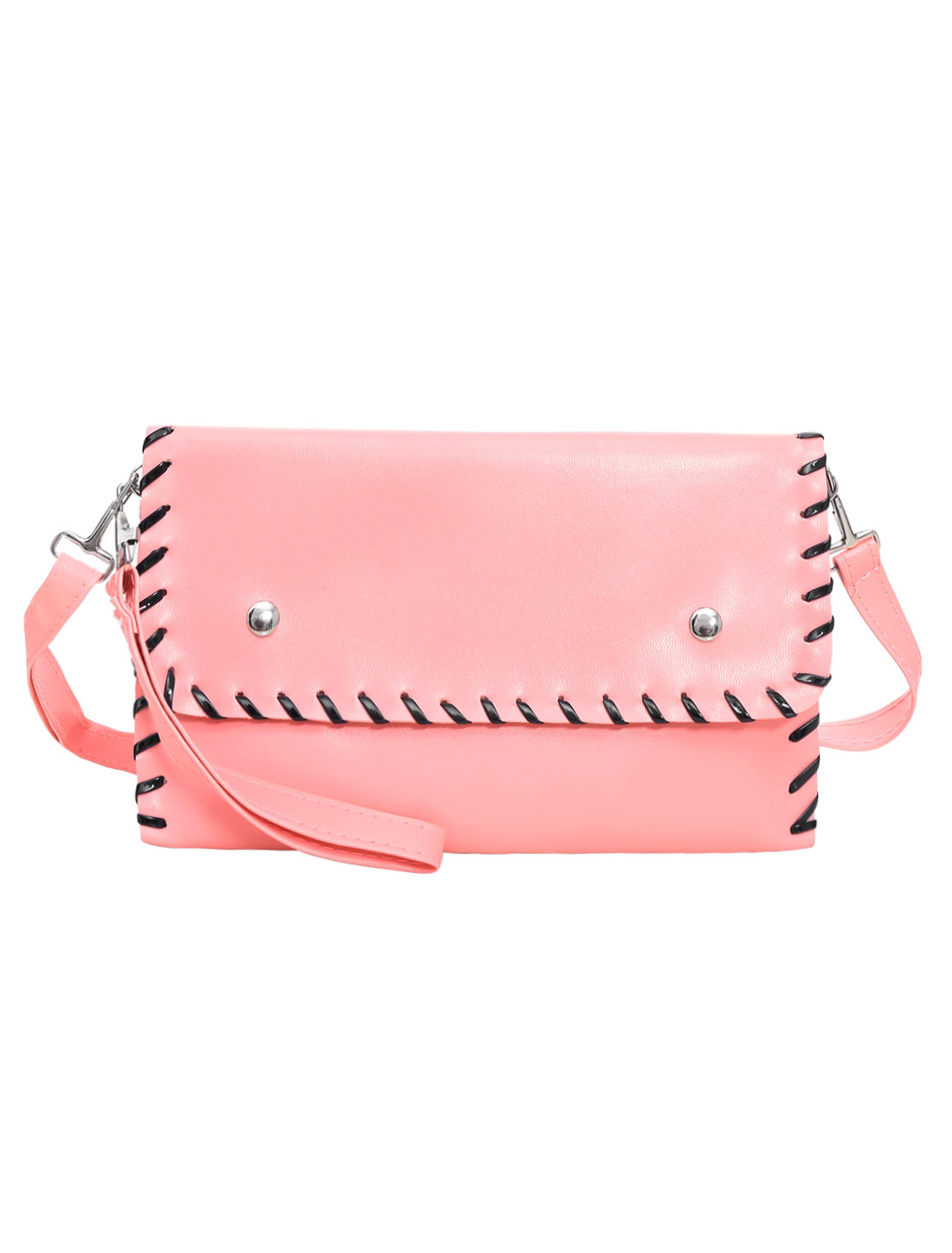 Woman Contrast-Colored Stitching Magnetic Flap Closure Clutch Pink