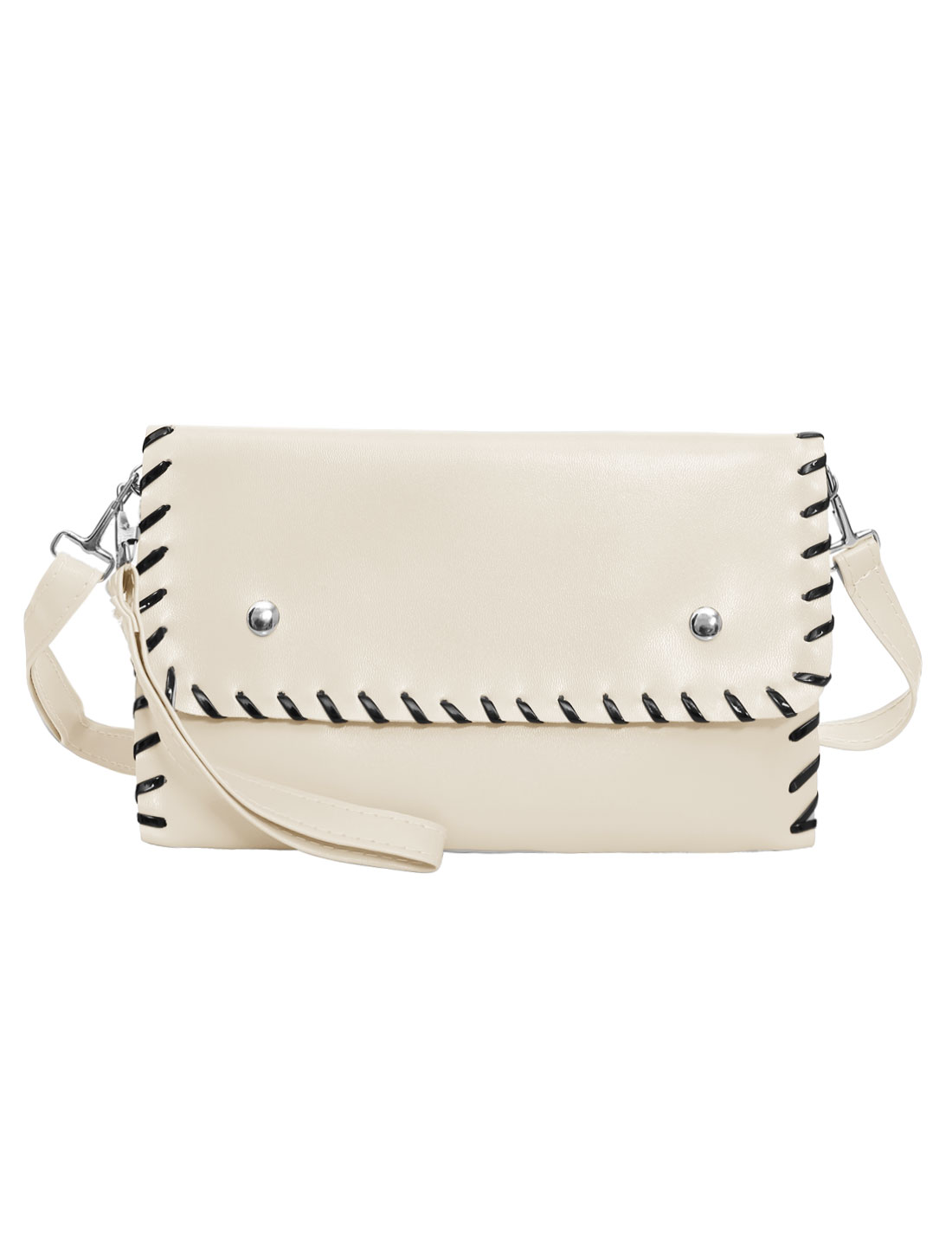 Woman Contrast-Colored Stitching Envelope Clutch Bag White