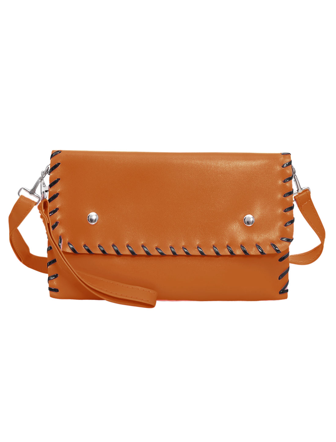 Woman Contrast-Colored Stitching Envelope Style Clutch Handbag Brown