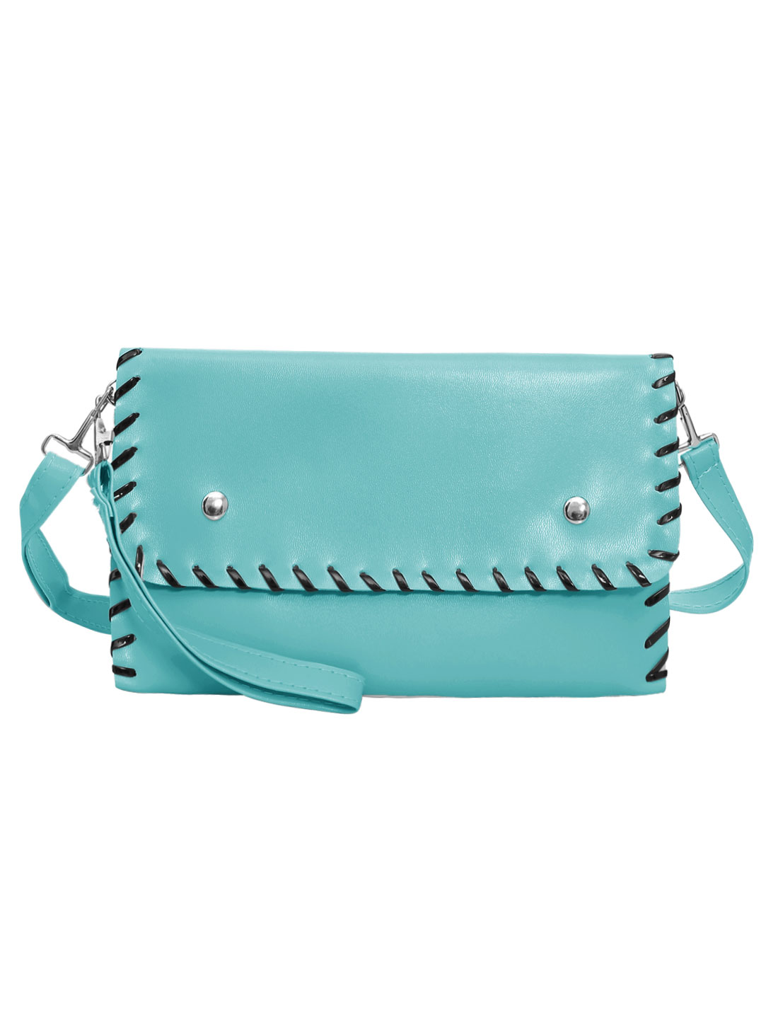 Woman Contrast-Colored Stitched Front Flap Fashion Clutch Bag Sky Blue