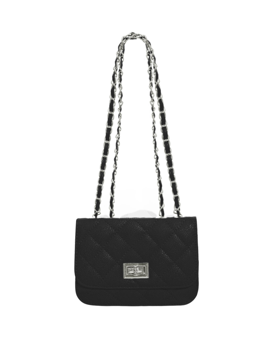 Women Turn-Lock Clasp Iterior Zipper Pocket Casual Shoulder Bags Black