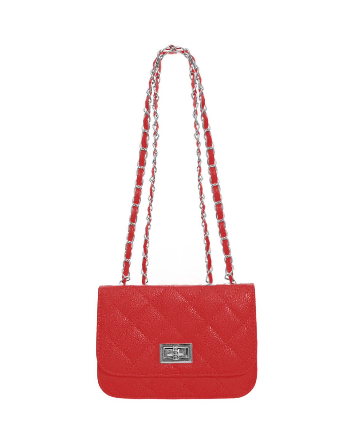 Women Turn-Lock Clasp Argly Design Iterior Zipper Pocket Casual Shoulder Bag Red