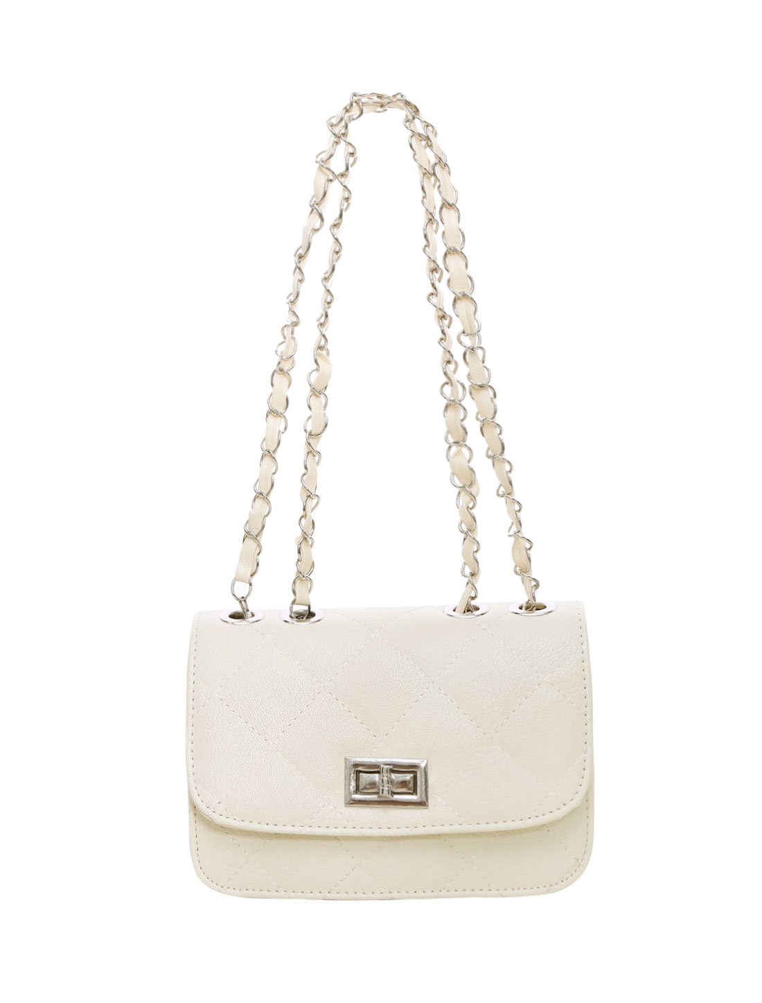 Ladies Turn-Lock Clasp Argly Design Iterior Pocket Casual Mini Bag Beige