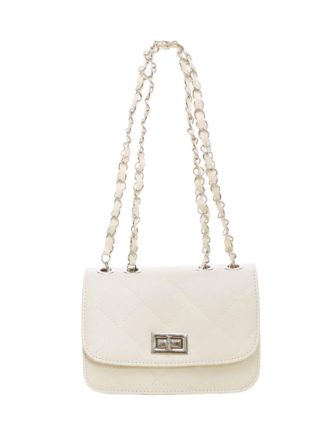 Ladies Turn-Lock Clasp Argly Design Iterior Pocket Casual Mini Bag Beige