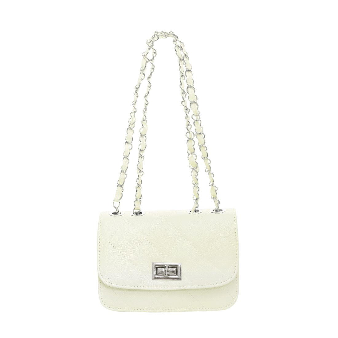 Lady Argly Design Iterior Pocket Fully Lined Shoulder Bag Mini Bag White
