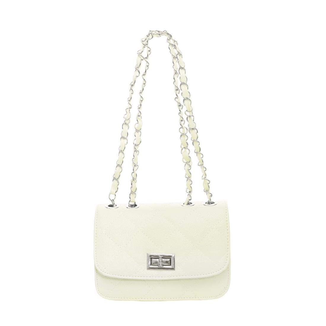 Lady Argly Design Iterior Pocket Fully Lined Shoulder Bag Mini Bag White