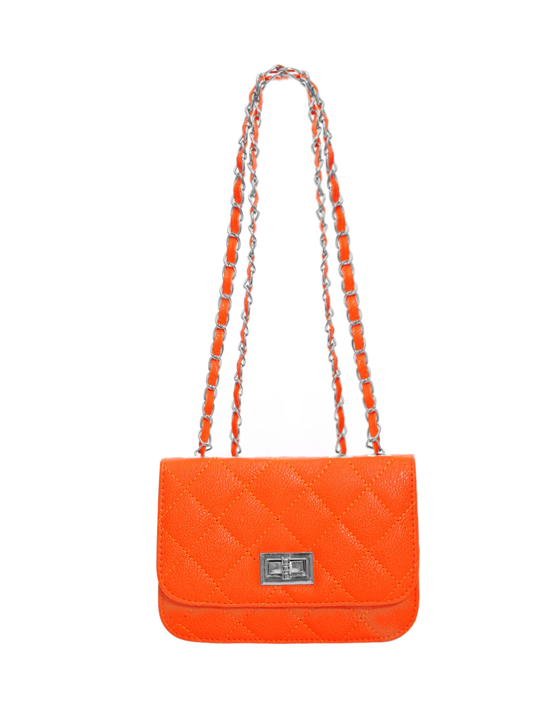 Ladies Turn-Lock Clasp Argly Design Fully Casual Mini Bags Orange