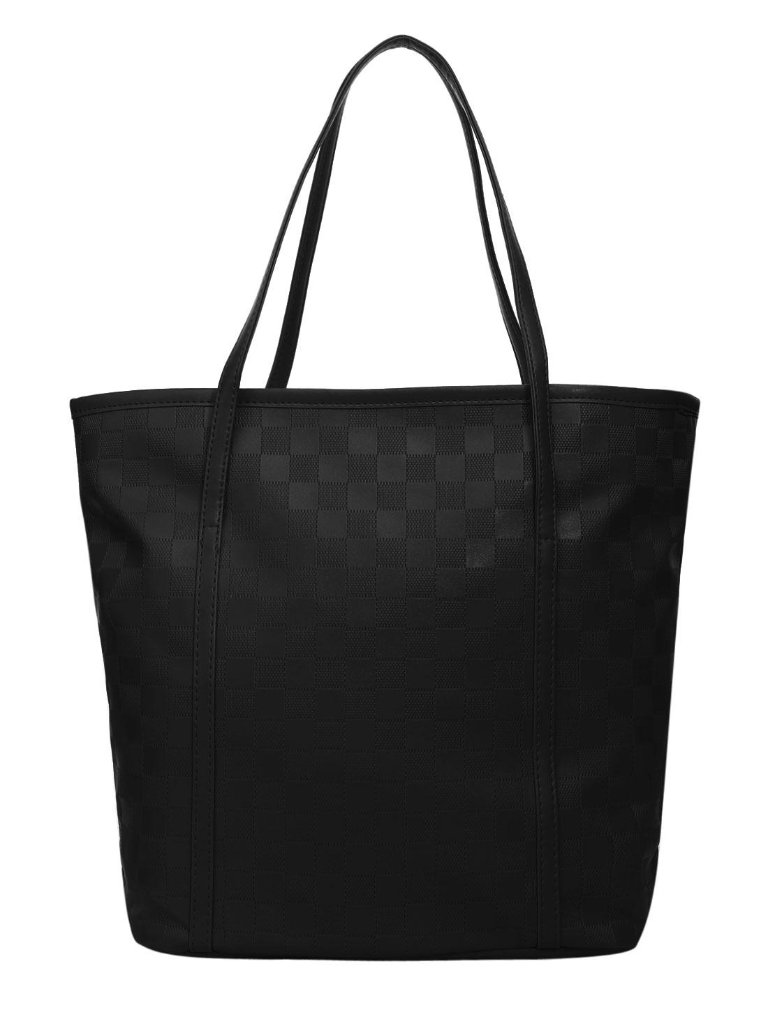 Ladies Zipper Closure Plaids Design Interior Pocket Casual Handbags Black