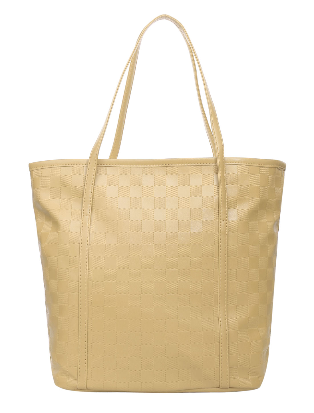 Ladies Plaids Design Interior Pocket Fully Lined Handbags Bag Beige