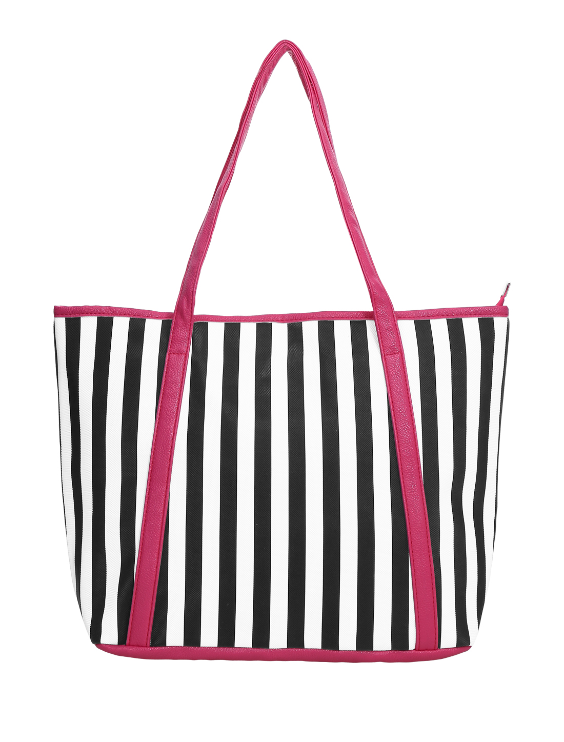 Women Stripes Prints Zipper Closure Interior Pockets Handbags Fuchsia