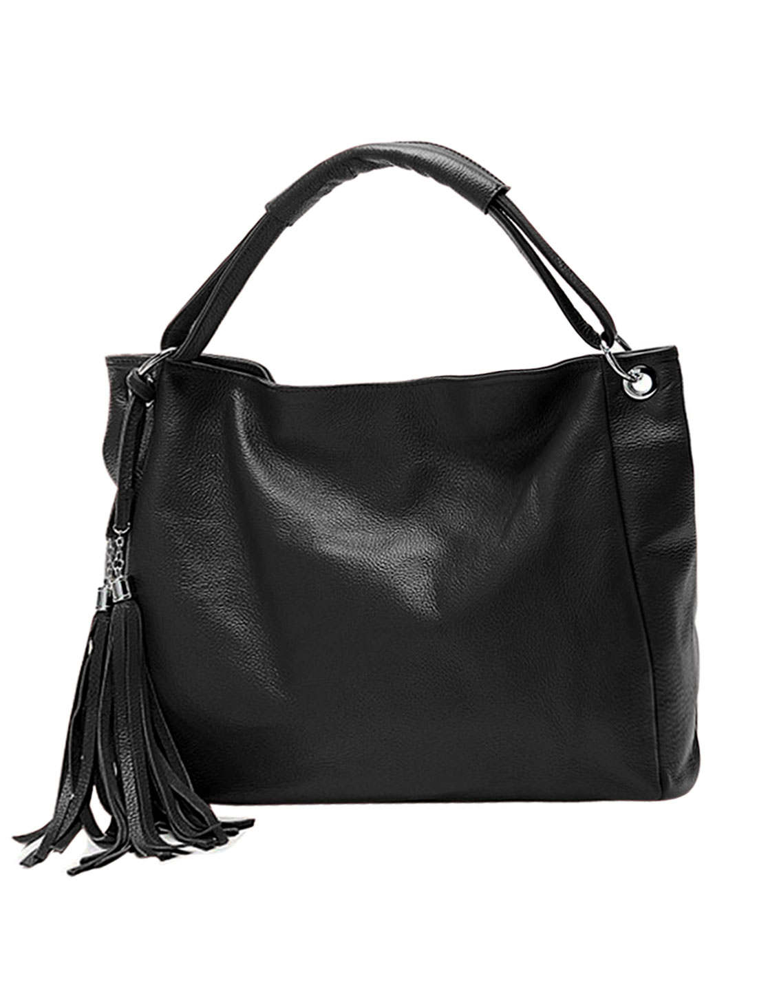 Ladies Tassels Decor Zip Closed PU Leather Slouch Hobo Bag Black