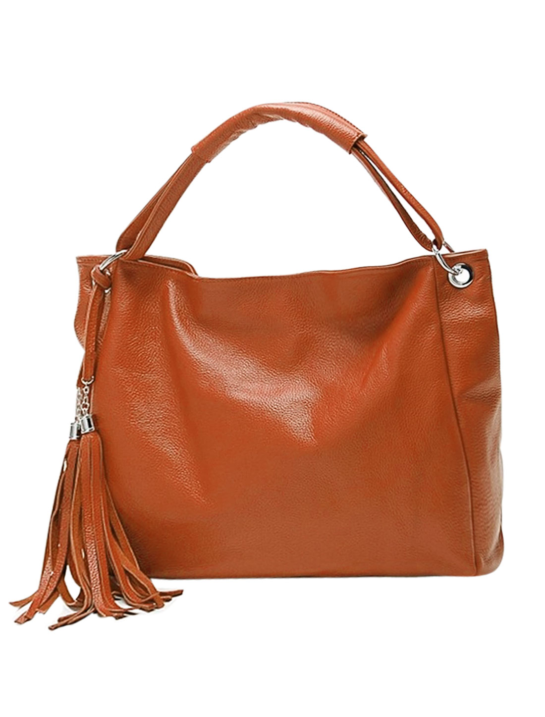 Woman Tassels Embellished Zip Closure PU Leather Slouch Bag Dark Orange