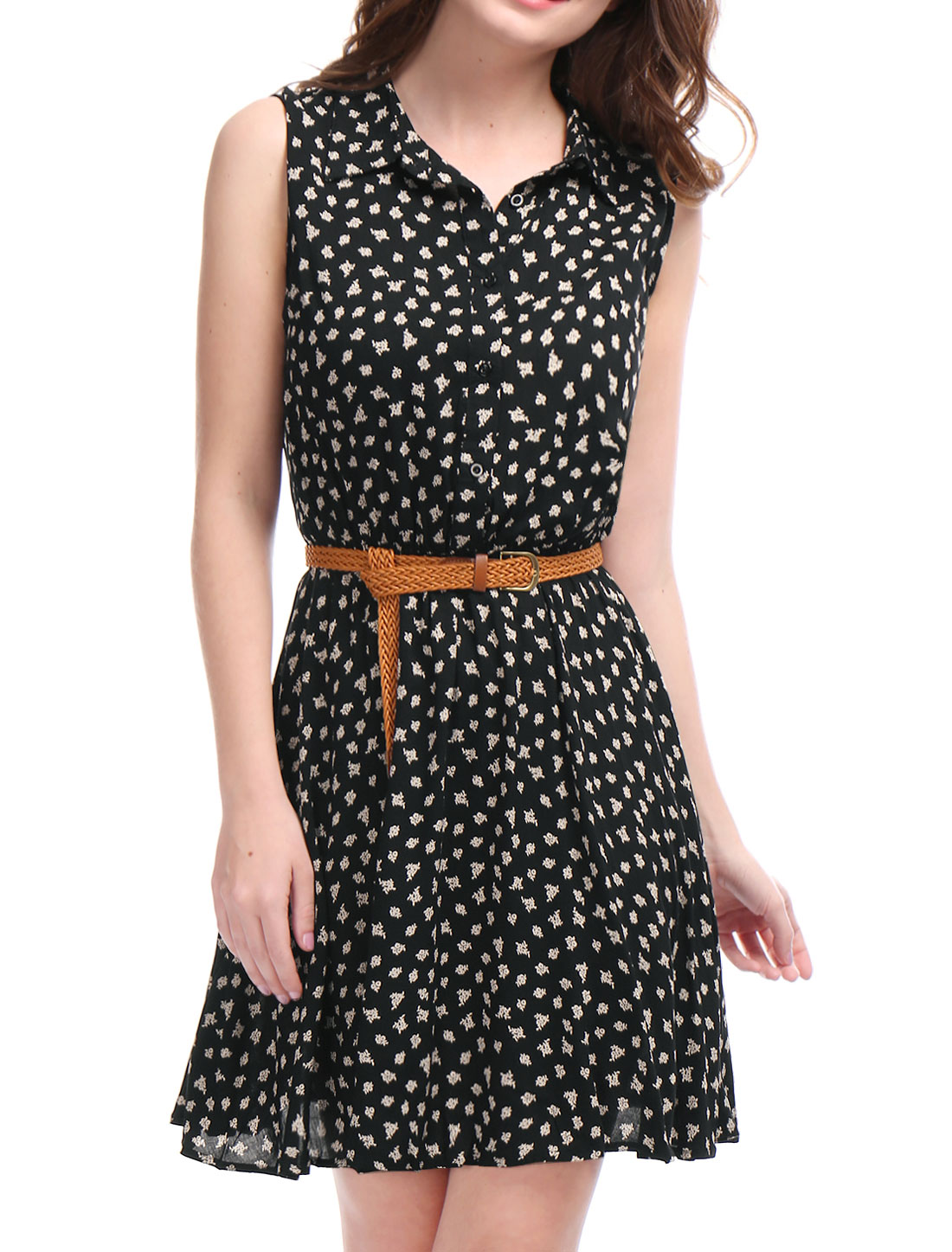 Women Daisy Print Point Collar Sleeveless Unlined Belted Shirt Dress Black L
