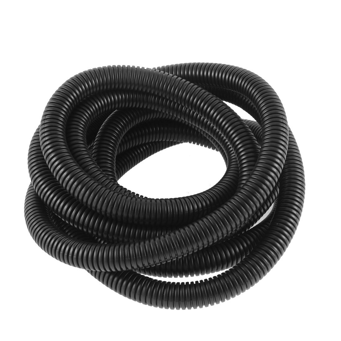 2.6M 8.5ft Long 18.5mmx14.5mm Black PVC Flexible Corrugated Tubing Wire Cable Conduit Hose Pipe