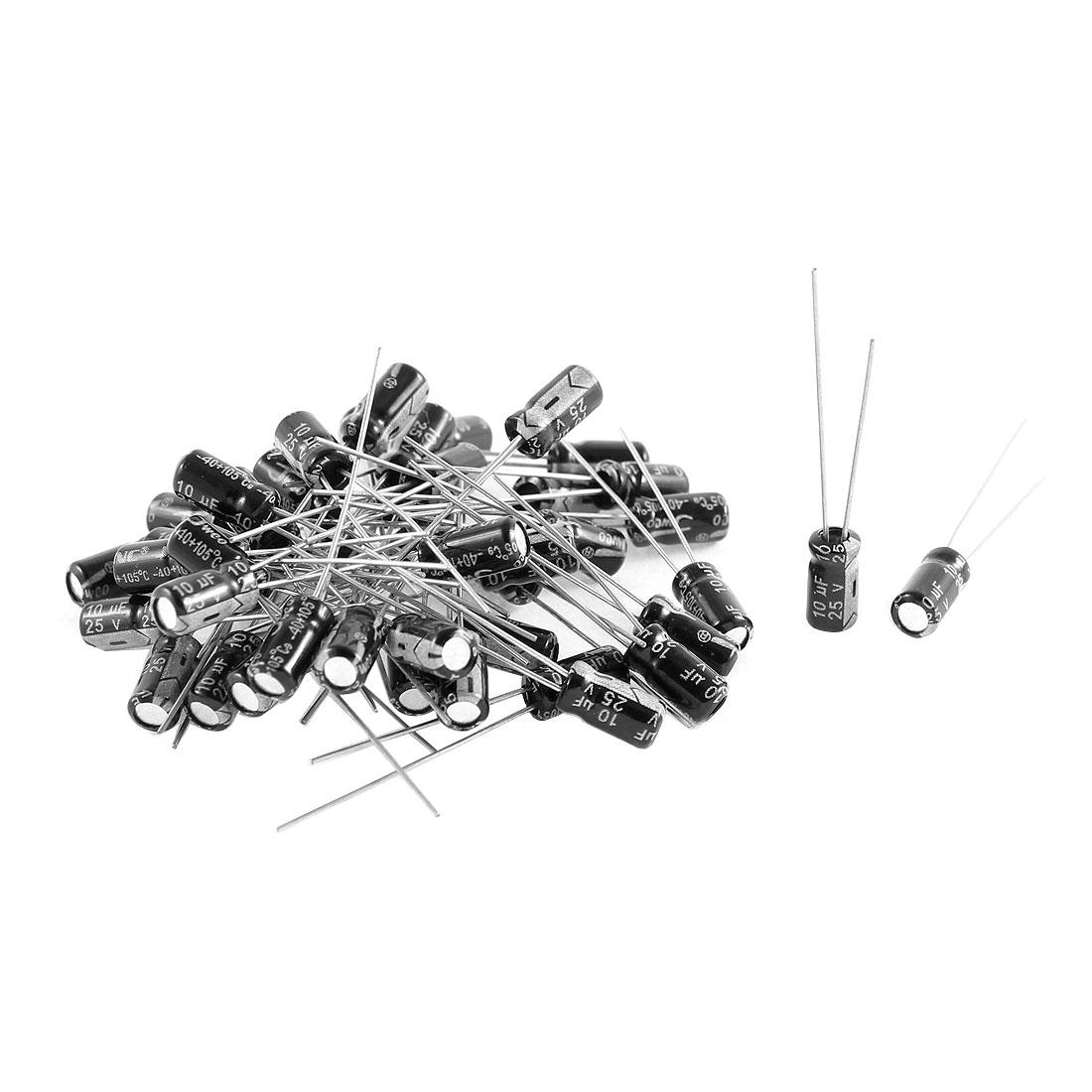 46Pcs 4.7UF 50V Radial Leads PCB Mount Polarised Aluminium Electrolytic Capacitor 4mmx8mm