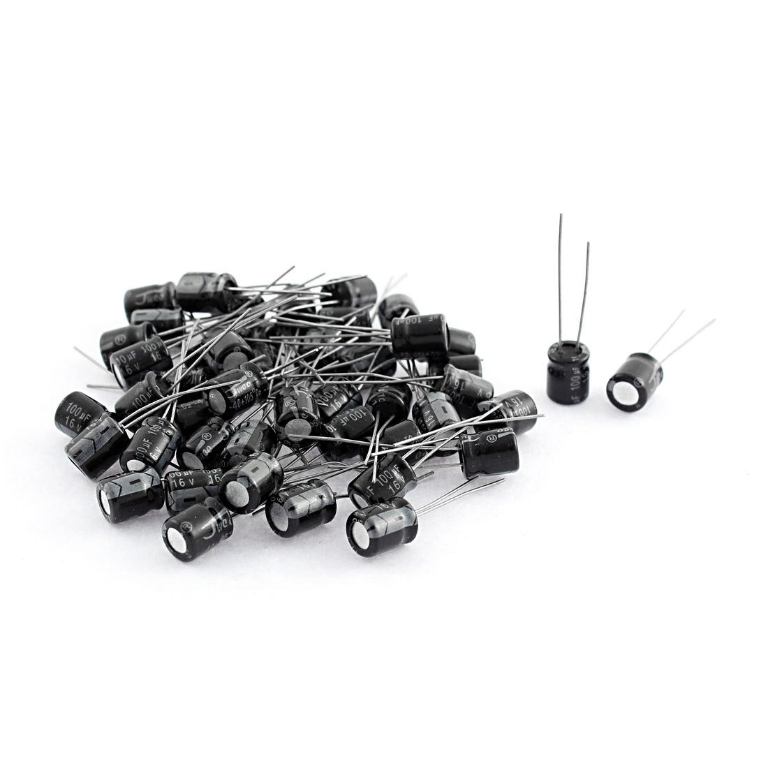 46Pcs 16V 100uF Radial Leads PCB Mount Polarised Aluminium Electrolytic Capacitor 6.5mmx8mm