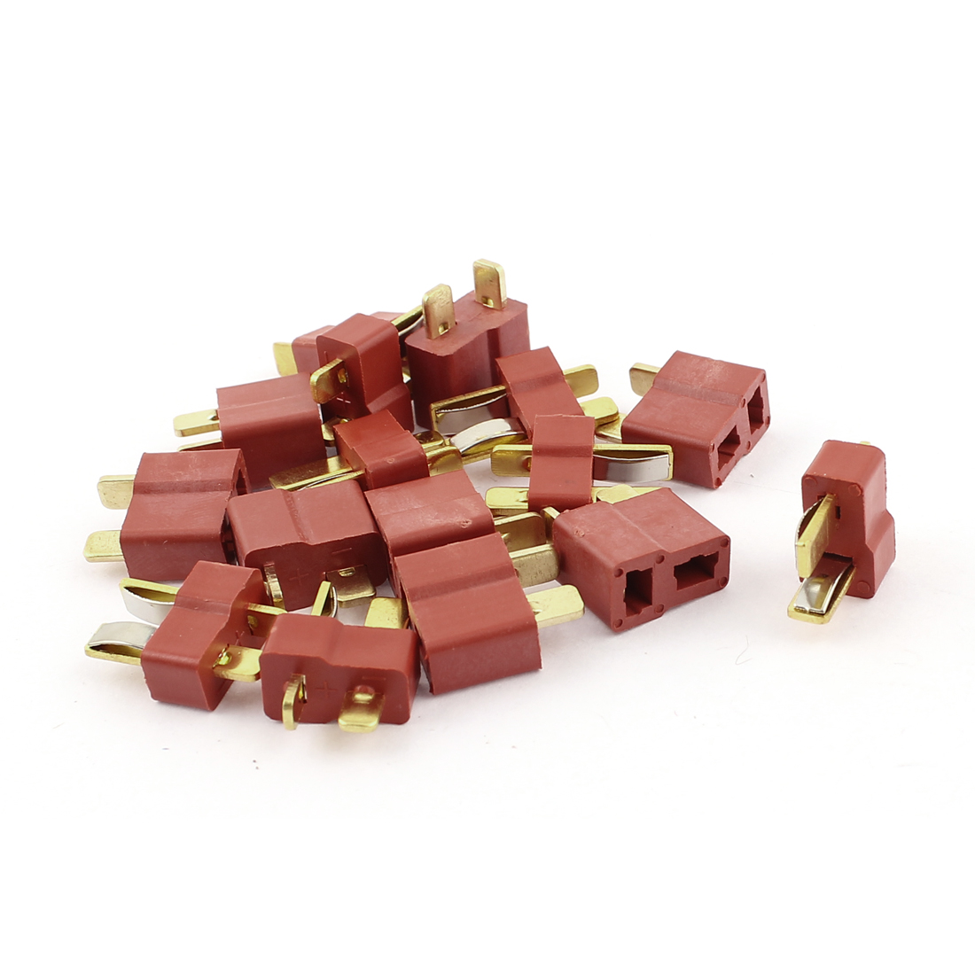 8 Pair Male + Female T Li-Po Battery Connector Red Gold Tone for RC Toy