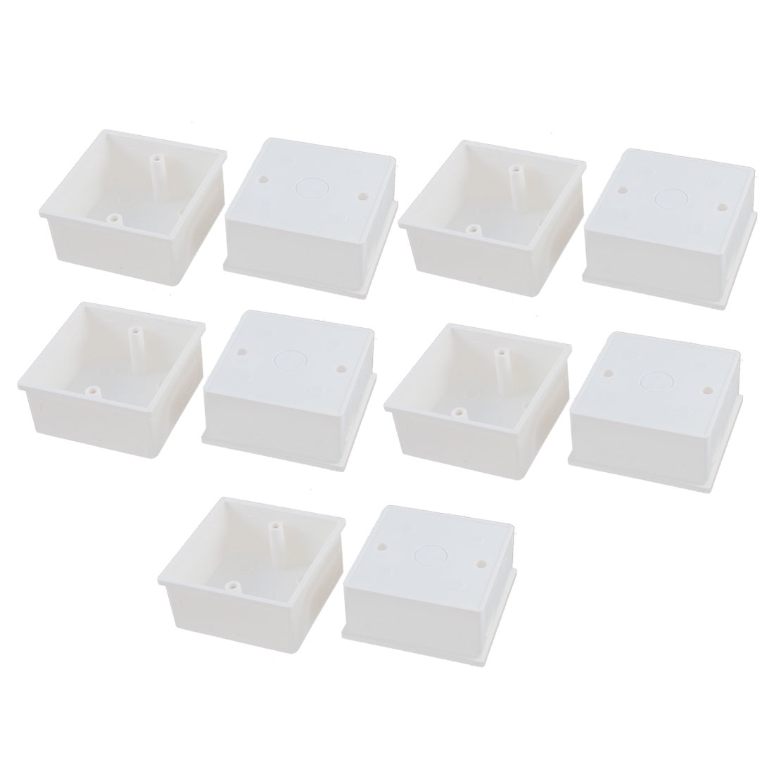 10pcs 86mm x 86mm x 40mm White PVC Single Gang Wiring Mount Back Box for Wall Socket