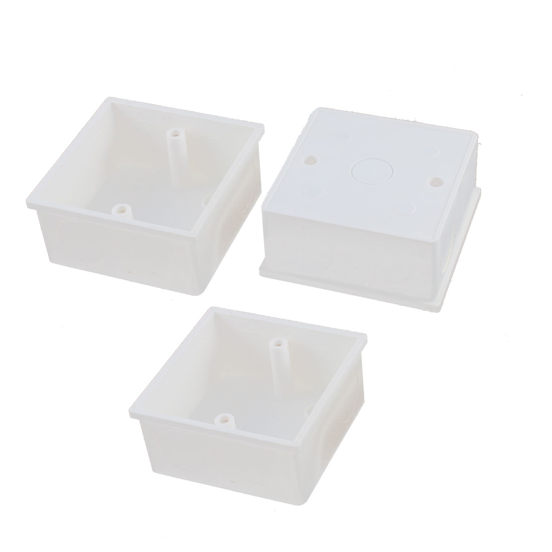 3pcs 86mm x 86mm x 40mm White PVC Single Gang Wiring Mount Back Box for Wall Socket