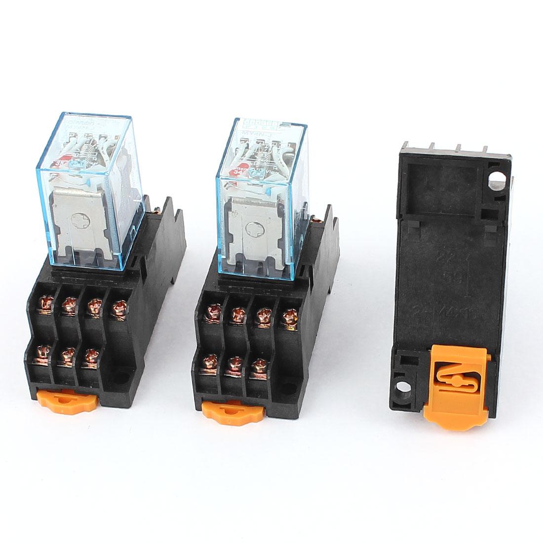 3pcs AC 220/240V Coil Voltage 14 Terminals 35mm DIN Rail Mount 4PDT Power Electromagnetic Relay w Socket