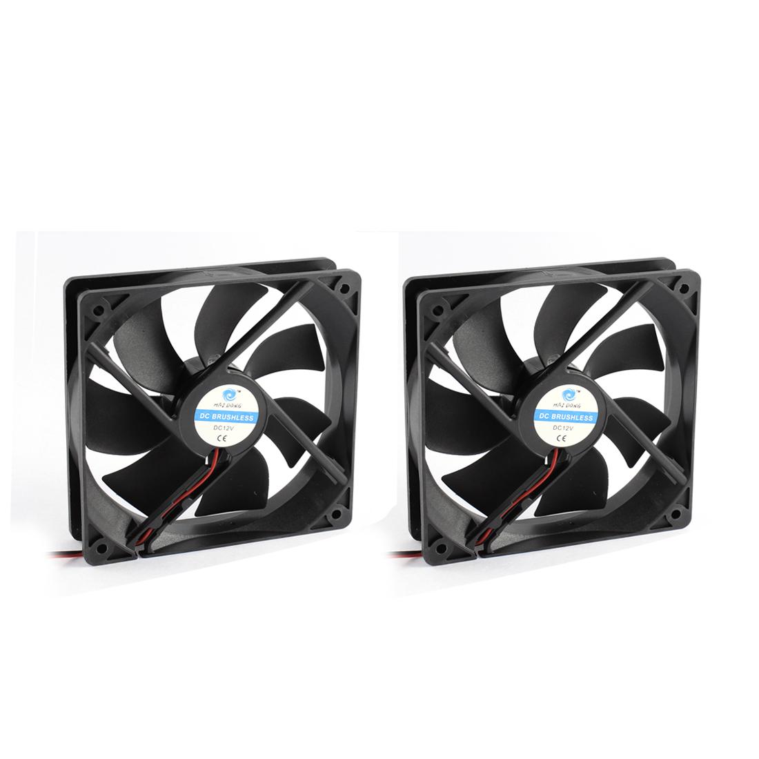 2pcs 12V 2-Wired Black Plastic 7 Fans DC Brushless Axial Cooling Fan Heatsink Cooler 12 x 12 x 2.5cm