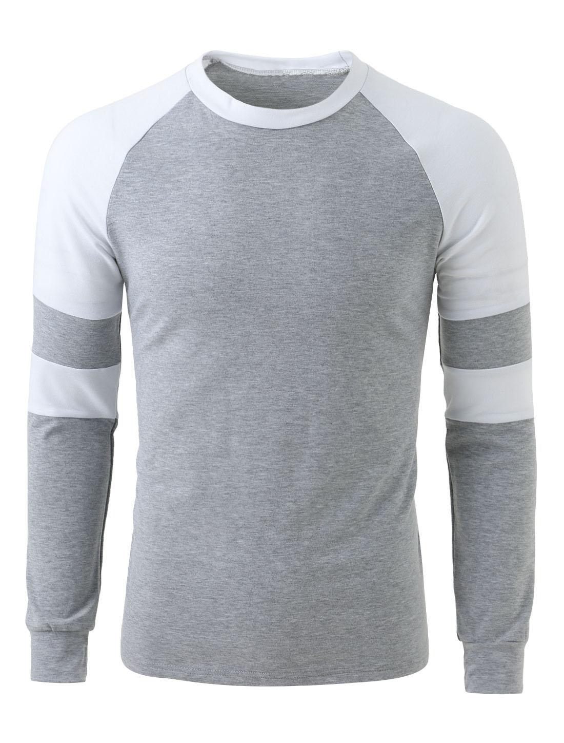 Men Raglan Sleeve Contrast Color Slim Fit T Shirt Light Gray L