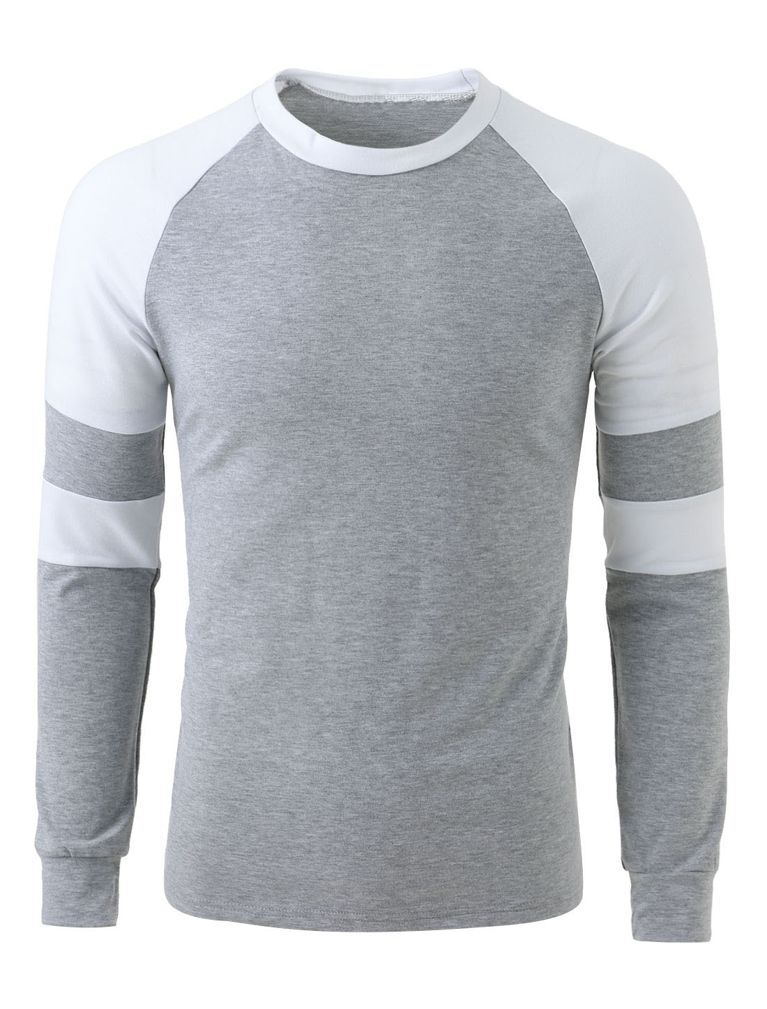 Men Long Sleeve Crew Neck Contrast Color Casual T-Shirts Light Gray L
