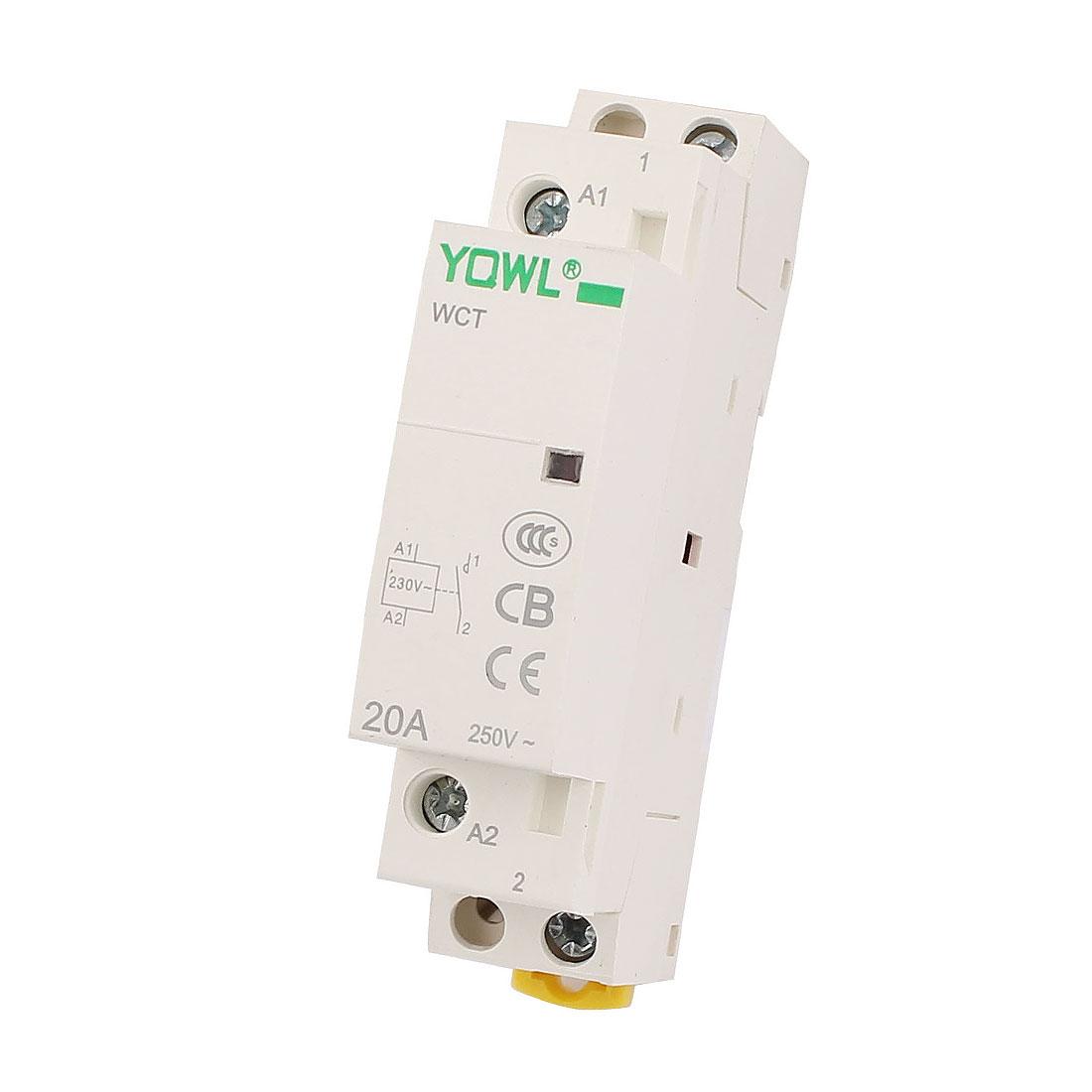 Household 1-Pole 1NO AC Power Contactor Modular Coil AC 250V 20A