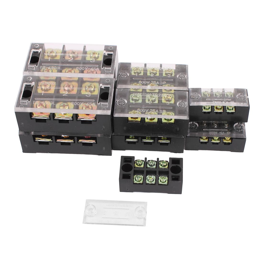 Dual Row 3 Position Insulated Screw Terminal Strip 600V 15A/25A/45A 12pcs