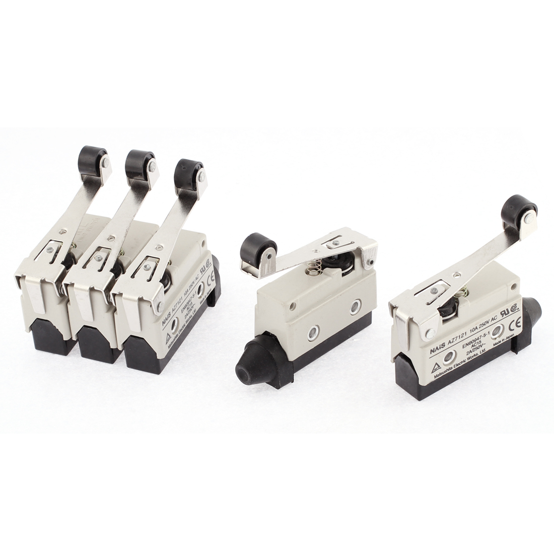 AC 250V 10A Momentary Hinge Roller Lever Limit Switch Replaces AZ7121 5 Pcs